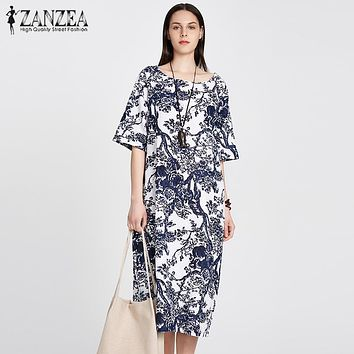 ZANZEA 2018 Womens Floral Printed Short Sleeve Cotton Linen Maxi Long Dress Loose Baggy Boho Casual Kaftan Tunic Plus Size