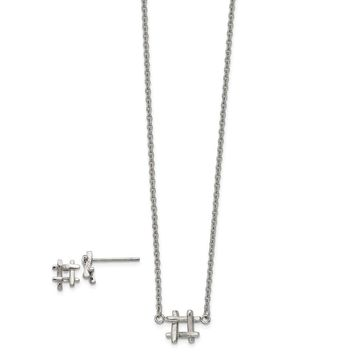 Stainless Steel Polished HashTag with 2in Extender‎ Necklace and Earring Set 16in