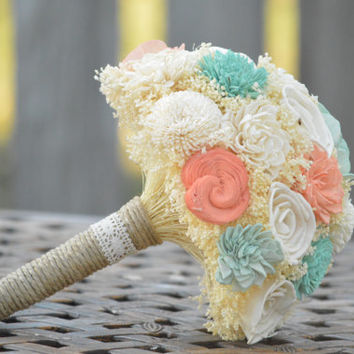 Large Wedding Bouquet Ivory Mint Coral Sola Flowers and dried Flowers Bridesmaid Keepsake