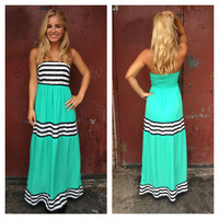Mint Stripe Strapless Cheryl Maxi Dress