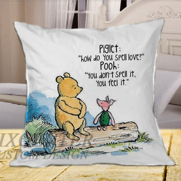 Winnie the Pooh Quote on Square Pillow Cover