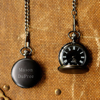 Engraved pocket watch midnight personalized monogrammed customized monogram custom watches for men