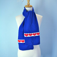 70s Winter Scarf Hearts Red White Blue Love