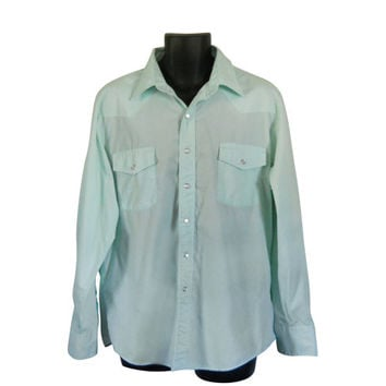Pearl Snap Shirt Men Mint Green Shirt Collared Shirt Button Down Shirt Men Button Up Shirt Men Long Sleeve Shirt Country Western Clothing