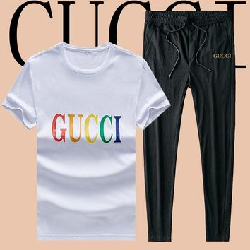 GUCCI fashion casual couple embossed design two-piece suit