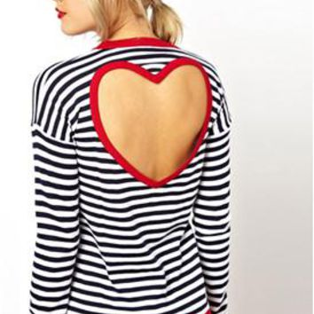 2014 New Spring summer Zebra Strip Long Sleeve T shirt with Open Back Hollow Torn Red Heart brand Women loose t-shirt 9439