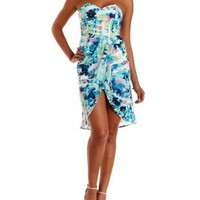 Multi Abstract Print High-Low Strapless Dress by Charlotte Russe