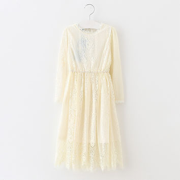 "The ""Vivian"" Girls & Tween Long Sleeve Lace Dress - Beige"