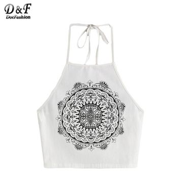 Woman's Top With Strap Top Fitness Summer White Vintage Circle Print Halter Neck Top Sexy Camisole