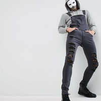 Liquor N Poker HALLOWEEN Extreme Distressed Ripped Dungaree at asos.com