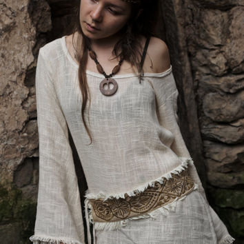 Long Sleeve  Cream Organic cotton shirt with Embroidered belt included  Earthy Natural Boho Gypsy Ethnic