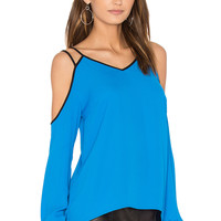 1. STATE Cold Shoulder Blouse in Electric Sky | REVOLVE