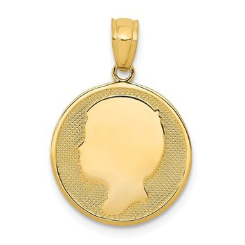 14k Yellow Gold Boy Silhouette Cameo Disc Pendant, 15mm (9/16 inch)
