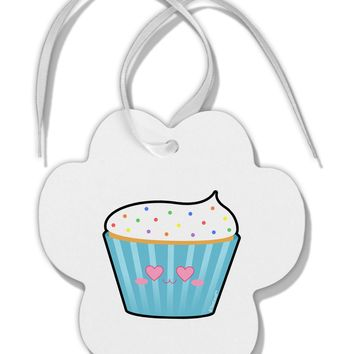 Cute Cupcake with Sprinkles - Heart Eyes Paw Print Shaped Ornament by TooLoud