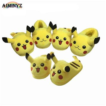 Adult Pikachu Slippers fluffy Shoes Cotton Warm Winter furry slides Plush Soft Cartoon Animal Cosplay Cute House Casual Home