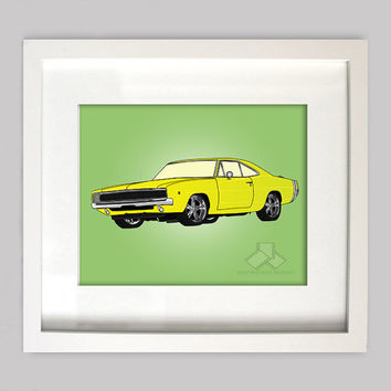 Yellow Dodge Charger 8x10 Illustration for Boys Room Decor, Nursery Wall Art, Boys Room Art, or Toddler Boys Room(Digtial Download)