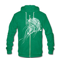 Jellyfish Hoodie Zipup Sweatshirt Jacket - American Apparel Sweater - XS S M L XL (7 Color Options)