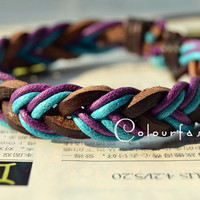 Christmas Gift, Winter Gift, Fashion Multilayer Weaved Leather Cotton rope Wrap Bracelet W-81