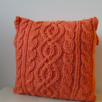 Orange knitted pillow cover, cable knit pillow case, decorative pillow, housewarming gift, handmade decorative pillow, interior, gift idea