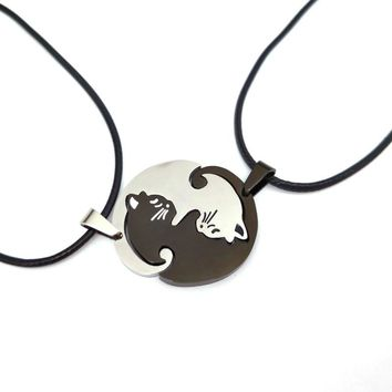 hzew cute Couples Jewelry animal Necklaces Black white Couple Necklace  cat Pendants Necklace Stainless Steel Necklace
