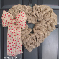 Burlap Heart Wreath with Red Polka Dot Bow
