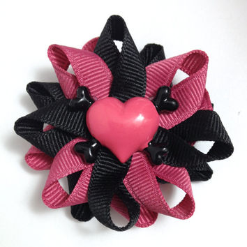 Pink & Black Heart Crossbones Small Hair Bow Set - Handmade Hair Bow Set - Small Heart Hair Bow Set - 2.5 inch Hair Bow Set - No Slip