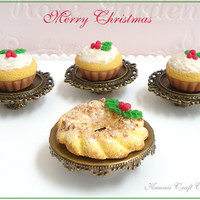 Christmas,Cupcake, Bakery, Faux, Fake, Doll, Food, Pastry, Cake, Dessert, Ring, 1 6, 1 4, Gift, Mini, Nuts, Blythe, Barbie, AGD, 1:12, Dal