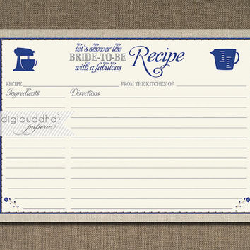 Lace Linen Recipe Card Floral Rose Navy Blue Gray Bridal Shower 5x7 4x6 3.5x5 DIY Printable or Printed Fill-In Recipe Card - Hillary Style