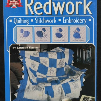 Redwork in Blue, Quilting, Stitchwork, Embroidery (c.1999) Like New Paperback book, Patterns Included, Baby Gift Ideas