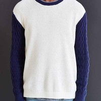 CPO Chevron Cable-Knit Sleeve Sweater- Cream