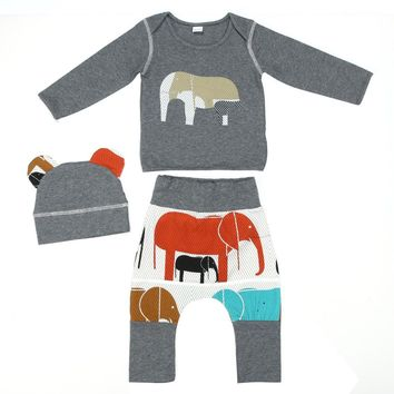 2pcs/lot Cute Baby Clothing Set Elephant Pattern Printed Warm Hoodie Pullover Tops+Long Pants Fashion Toddlers Clothes Outfits