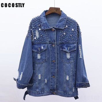 2018 Autumn Frayed Jeans Jacket Women Fashion Beading Boyfriend Loose Jaqueta Jeans Oversize Denim jacket