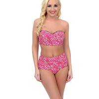 Betsey Johnson Pink Red Rose True Romance Bump Me Up Cut Out Bandeau Swim Top