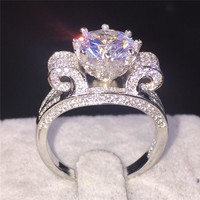Women 925 Sterling Silver Jewelry Brand Flower Crown Design 4CT Level Cubic Zirconia Engagement Wedding Rings