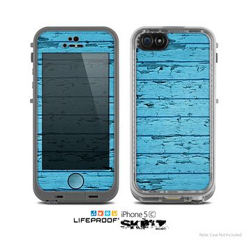 The Blue Aged Wood Panel Skin for the Apple iPhone 5c LifeProof Case