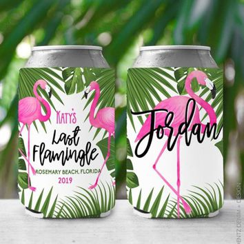 Custom Can Cooler, Last Flamingle Can coolers for Bachelorette Party and Personalized Bridesmaids Accessories