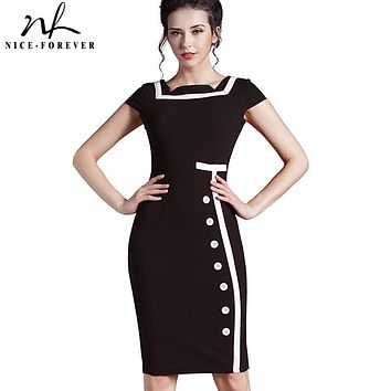 Nice-forever Plus Size Gorgeous Women Square Neck Sleeveless Button Formal Business Sheath Bodycon Vintage Pencil Midi Dress 742