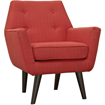 Modway Posit Armchair in Tufted Atomic Red Fabric on Espresso Finish Legs