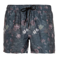 Black Floral Swim Shorts - Men's Swimshorts  - Clothing