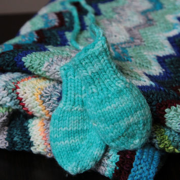 Bright Aquamarine Thumbless Baby Mitts / Hand Knitted / 0-3 Months  / Ready to Ship!