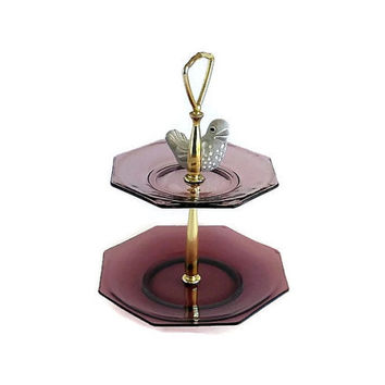 Purple Glass Tiered Serving Tray