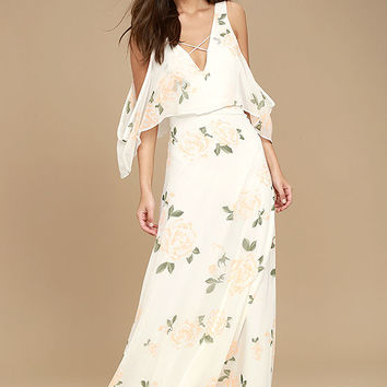 The Very Thought of You White Floral Print Maxi Dress