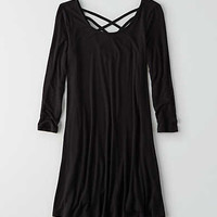 AEO Strappy Back Swing Dress, True Black