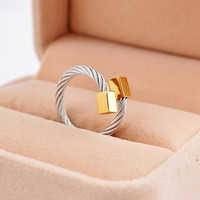 Fashion Square Buckle Cable Stainles Steel Rings