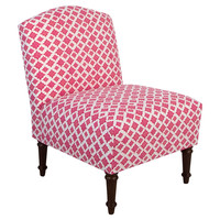 Clark Slipper Chair, Pink/White, Accent & Occasional Chairs