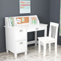 Study Desk with Side Drawers - White
