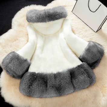 Women Plus Size Hooded Coat Faux Fox Fur Patch Long Sleeve Thick Coat Warm Outerwear Overcoat Womens Shearling Jacket SM6
