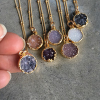 Natural Druzy Necklaces, Druzy Jewelry, Crystal Druzy, aunt gift, bridesmaids jewelry