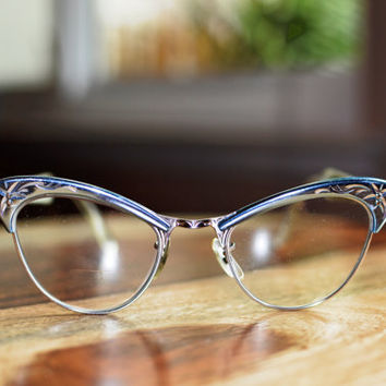 Vintage Cat Eye 1950s Blue and Silver American Optical Eyeglasses