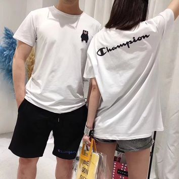 """Champion"" Unisex Fashion Casual Cute Cartoon Kumamoto Bear Letter Short Sleeve Couple T-shirt Top Tee"